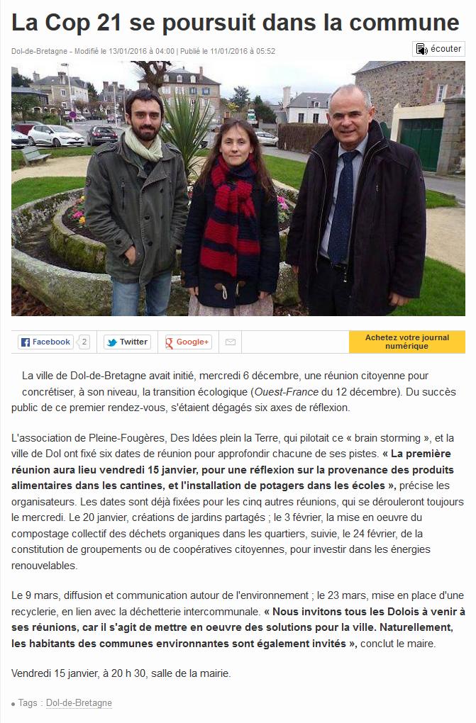 Ouest France Janvier 2016
