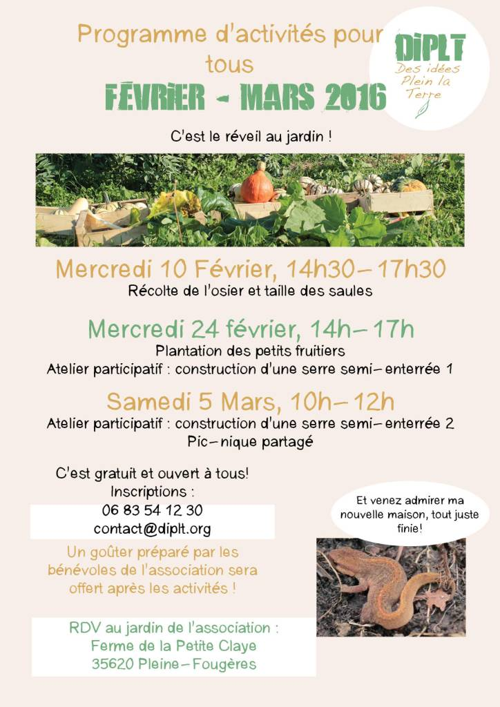 Programme Février Mars 2016